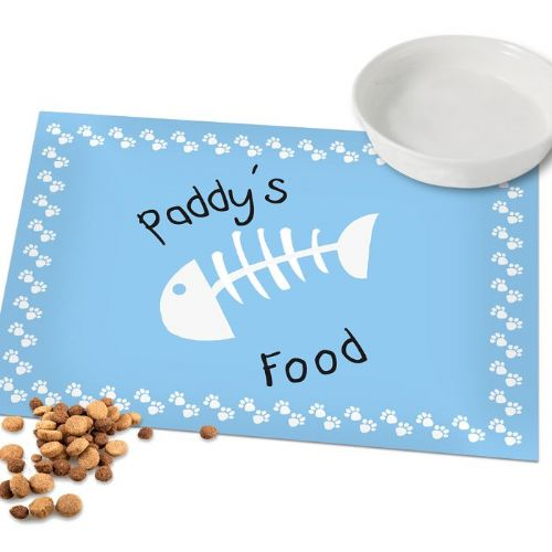 Blue Fish Bone Cat Placemat